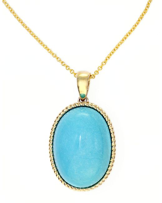 Effy | Blue Turquesa 14k Yellow Gold And Turquoise Oval Pendant | Lyst