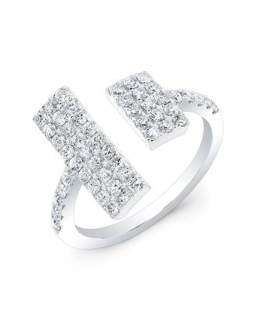 Anne Sisteron | Metallic 14kt White Gold Diamond Double Brick Ring | Lyst