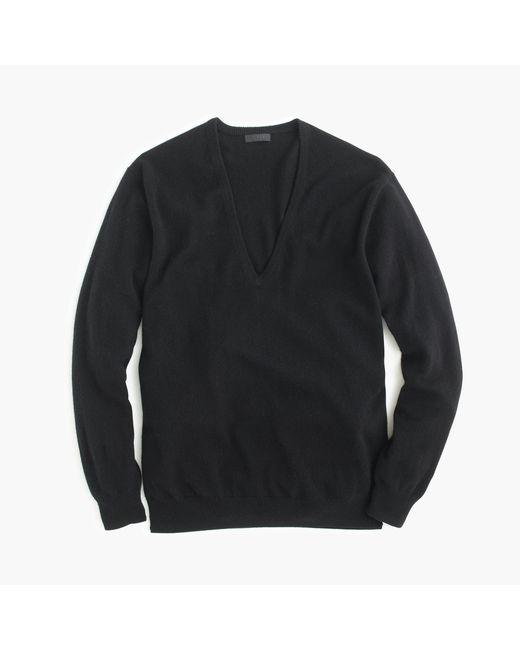 J.Crew | Black Italian Cashmere Boyfriend V-neck Sweater | Lyst