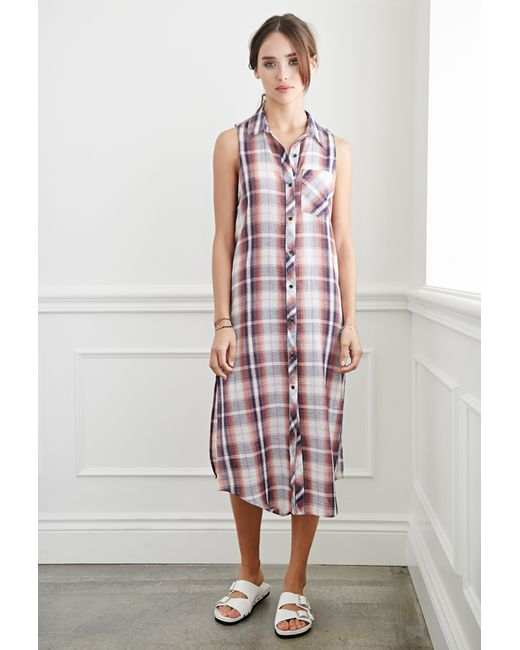 Forever 21 | Pink Plaid Midi Dress You've Been Added To The Waitlist | Lyst