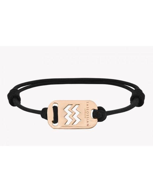 Tateossian | Zodiac 18k Yellow Gold Aquarius Black Waxed Cord Bracelet for Men | Lyst