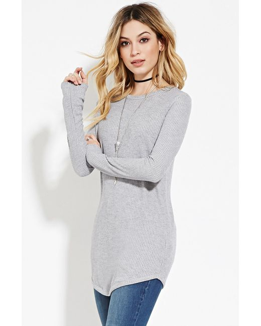 Forever 21 | Gray Ribbed Knit Tunic You've Been Added To The Waitlist | Lyst