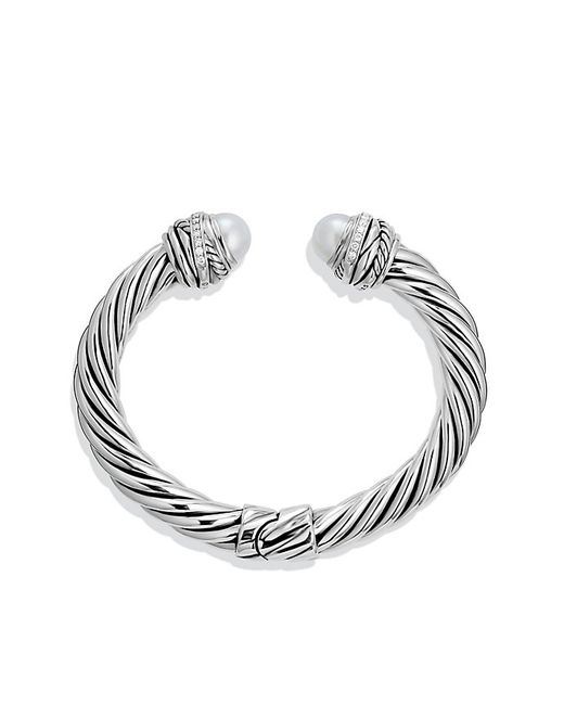 David Yurman | Metallic Crossover Bracelet With Pearls & Diamonds | Lyst