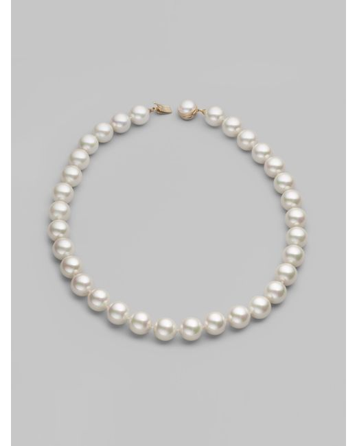 Majorica | Natural 14mm White Pearl Strand Necklace/20 | Lyst