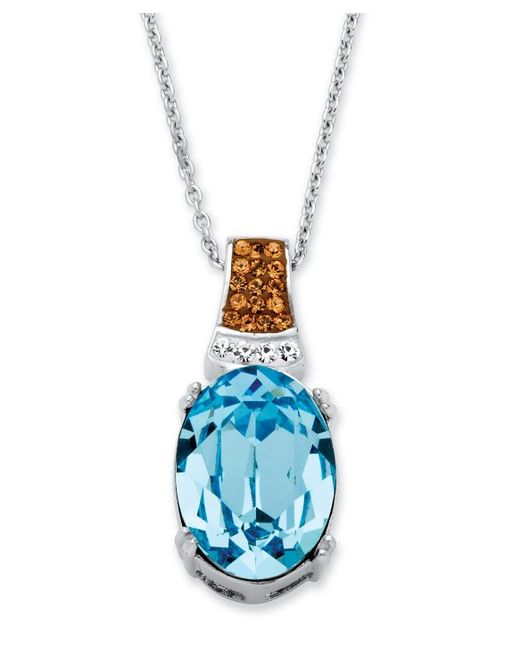 Palmbeach jewelry oval cut aqua crystal pendant necklace for What is platinum jewelry made of