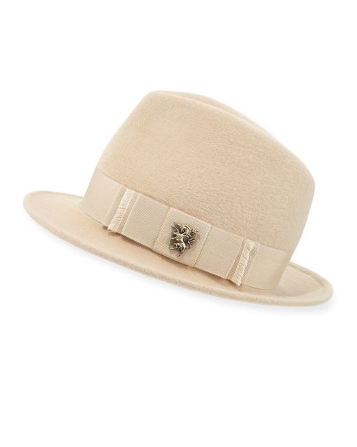 Philip Treacy | Natural Leonard Trilby Hat W/unicorn Bow | Lyst