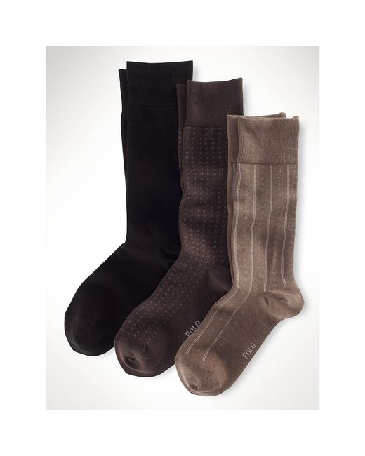 Polo Ralph Lauren | Brown Assorted Patterned Sock 3-pack for Men | Lyst