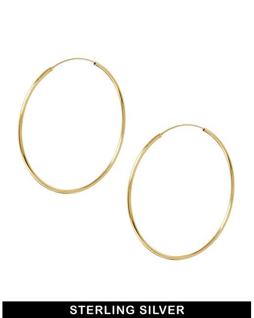 ASOS | Metallic Gold Plated Sterling Silver 60mm Hoop Earrings | Lyst