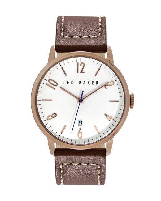 Ted Baker   Pink Modern Vintage Leather Strap Watch, 42mm for Men   Lyst