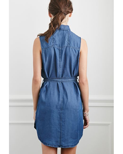 Forever 21 belted chambray shirt dress in blue dark denim for Belted chambray shirt dress