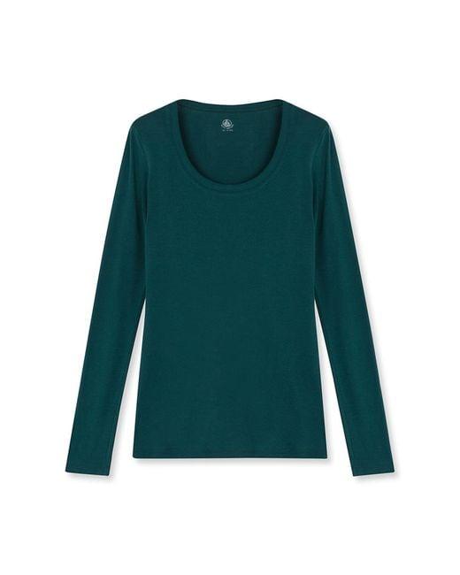 Petit Bateau | Green Women's Long-sleeved Light Cotton Tee | Lyst