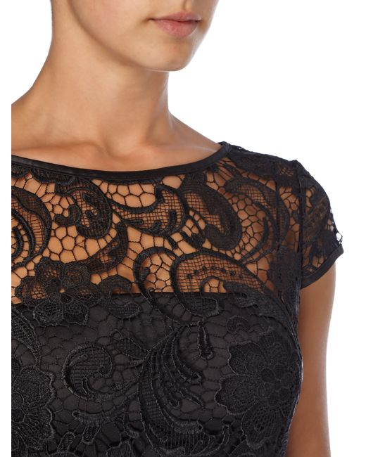 Adrianna Papell | Black All Over Guipure Lace Dress | Lyst