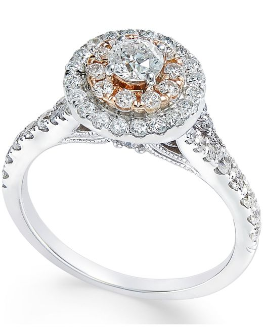 Macy s Diamond Two tone Engagement Ring 1 Ct T w In 14k White Gold An