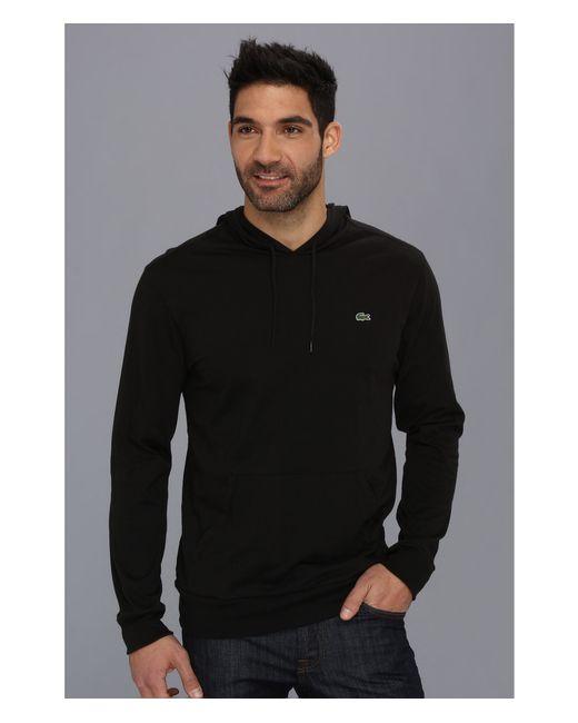 lacoste jersey tshirt hoodie in black for men lyst