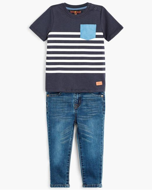 7 For All Mankind - Blue Boy's 2t-4t Crew Neck Tee & Jeans In Deep Well for Men - Lyst