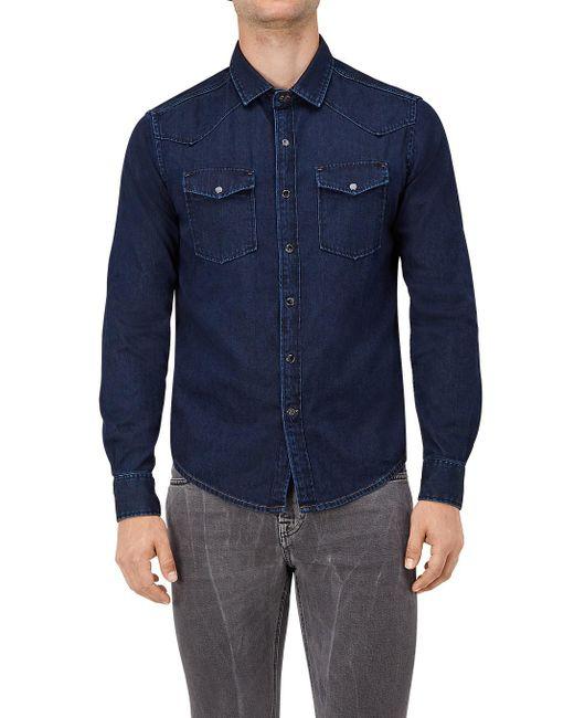 7 For All Mankind - Western Shirt Denim Deep Blue for Men - Lyst