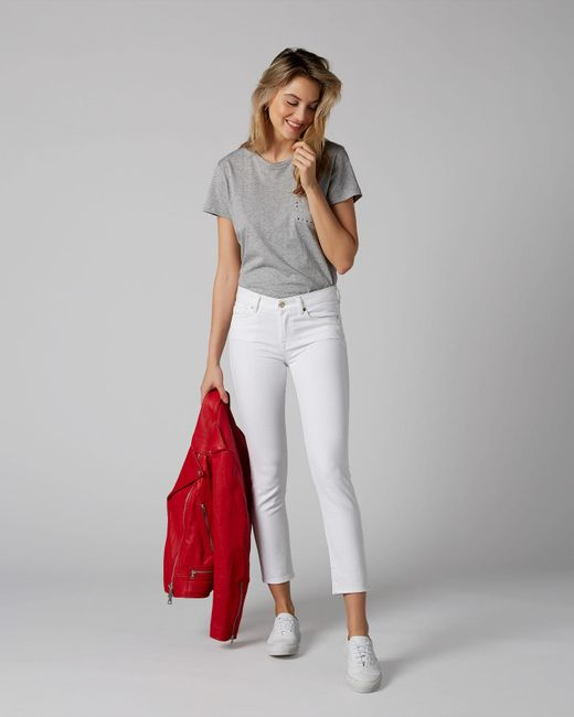7 For All Mankind Mid Rise Roxanne Crop Pure White