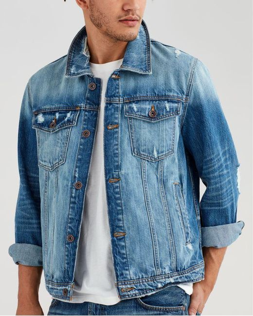 7 For All Mankind - Blue Trucker Jacket In Redemption for Men - Lyst