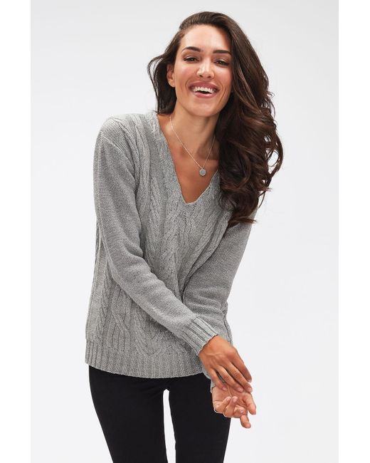 7 For All Mankind Gray V-neck Cable Knit Wool Diamante