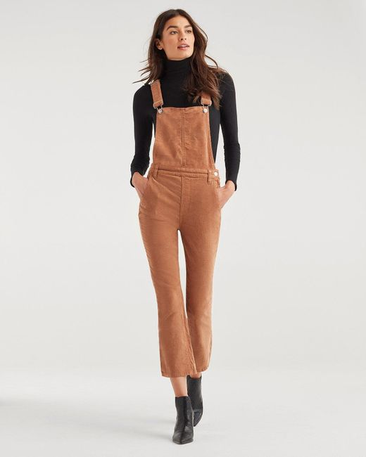 7 For All Mankind Multicolor Slim Kick Vintage Corduroy Overall In Penny