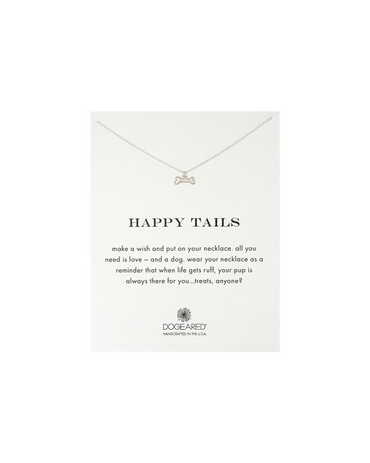 Dogeared | Metallic Happy Tails Dog Bone Necklace | Lyst