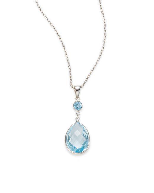 Saks Fifth Avenue | Blue Emerald, Diamond & 14k Yellow Gold Triple-halo Pendant Necklace | Lyst