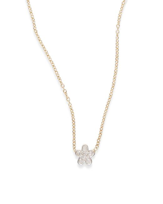 Kacey K | Metallic Diamond & 14k Gold Flower Necklace | Lyst