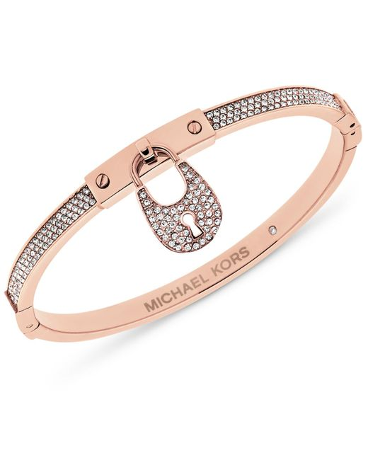 Michael Kors | Metallic Pavé Crystal Accented Padlock Bracelet | Lyst