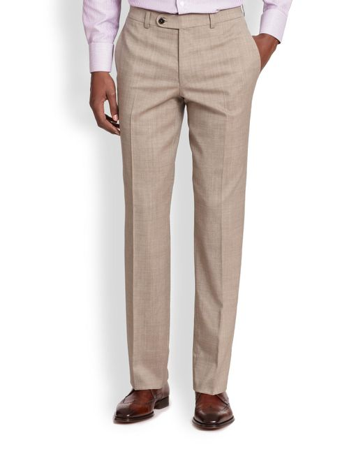 Saks Fifth Avenue   Natural Stretch-wool Trousers for Men   Lyst