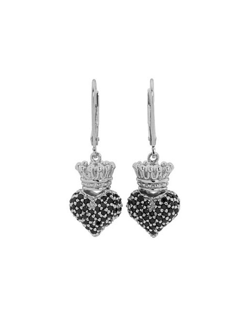 King Baby Studio | Black Small 3D Pink Cz Crowned Heart Earrings | Lyst