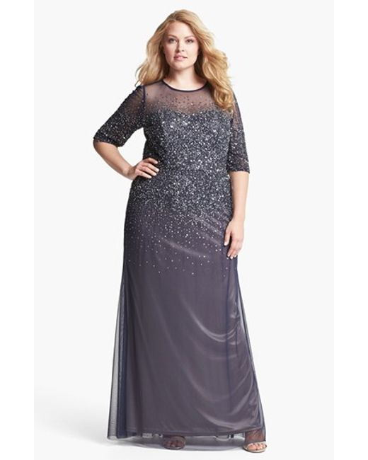 Adrianna Papell   Blue Beaded Illusion Gown   Lyst
