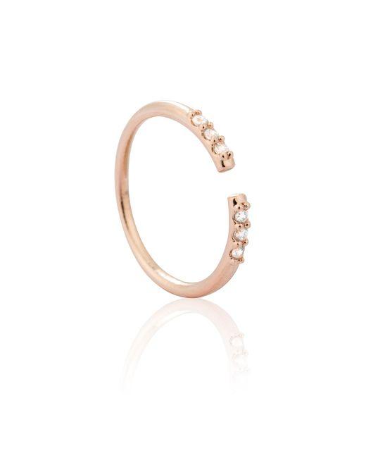 Astrid & Miyu | Metallic Triple Diamante Ring In Rose Gold | Lyst