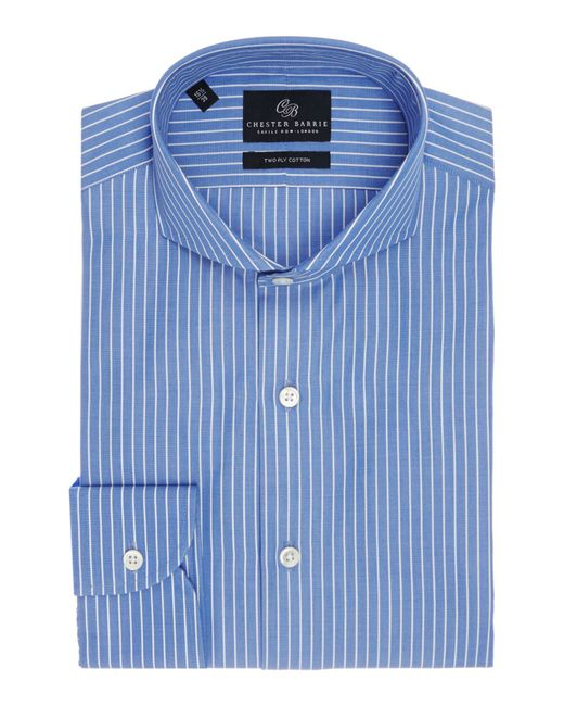 Chester Barrie | Blue Contemporary Richard Spaced Stripe Shirt for Men | Lyst