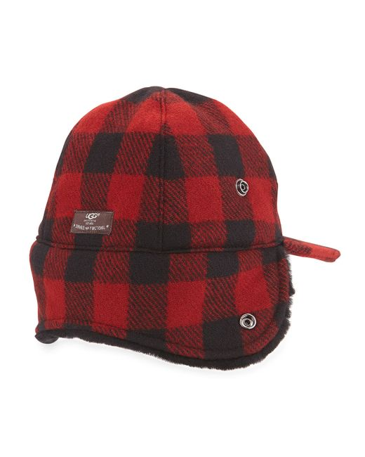 Ugg Mclain Buffalo Plaid Trapper Hat W Shearling In Red