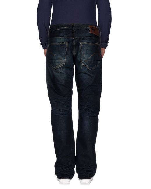 g star raw denim trousers in blue for men save 44 lyst. Black Bedroom Furniture Sets. Home Design Ideas