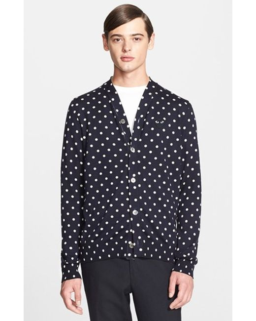 Comme des Garçons | Blue Play Dot Pattern Cardigan for Men | Lyst