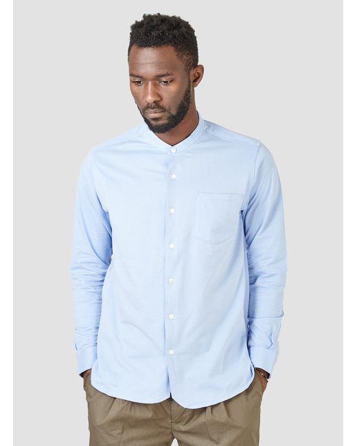 blurhms super soft banded collar shirt blue in blue for