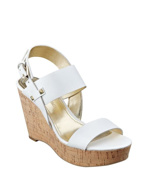 Ivanka Trump | White Gareno Leather Platform Wedge Sandals | Lyst