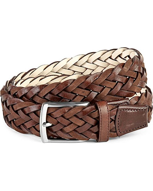 duch plaited leather belt in brown for lyst