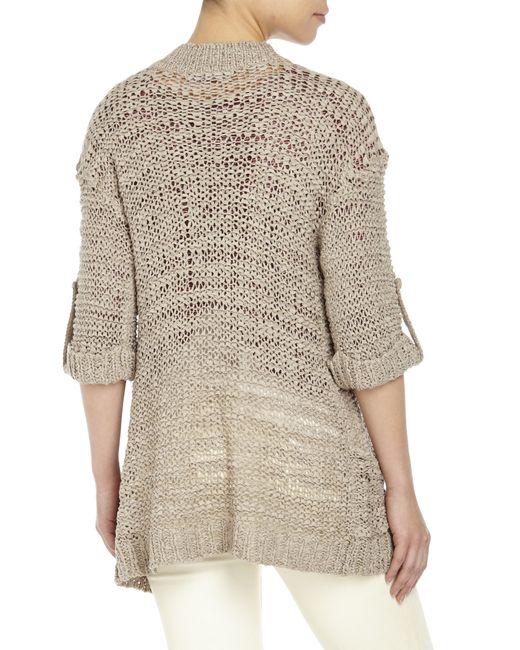 Knitting Pattern Open Front Cardigan : Coupe collection Open Front Tab Sleeve Knit Cardigan in Brown (Mocha) Lyst