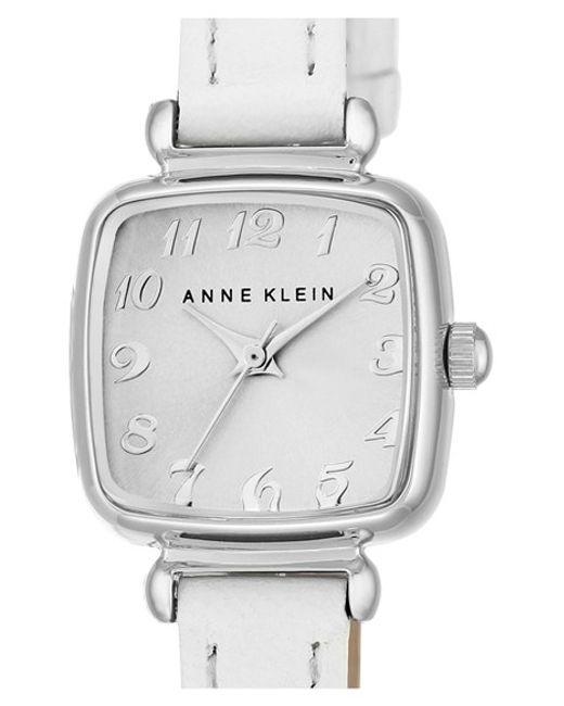 Anne klein leather strap watch in white white silver lyst for Anne klein leather strap