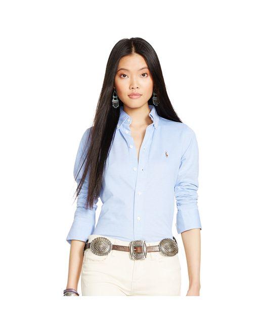 Polo Ralph Lauren | Blue Knit Cotton Oxford Shirt | Lyst
