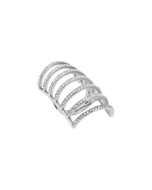 Michael Kors | Metallic Pavé Silver-tone Cage Ring | Lyst