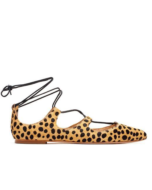 Loeffler Randall | Natural Ambra Lace-up Cheetah-print Calf Hair Flats | Lyst