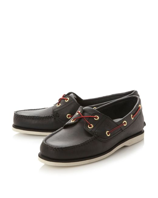 timberland 1005r classic boat shoes in black for lyst