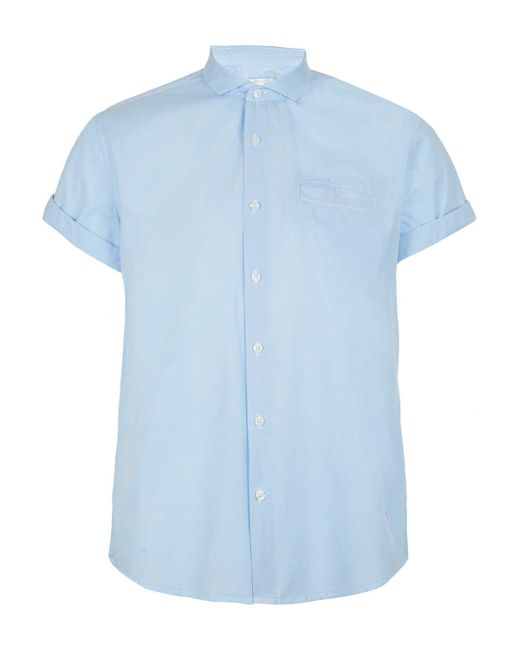 Topman Light Blue Button Down Short Sleeve Dress Shirt In