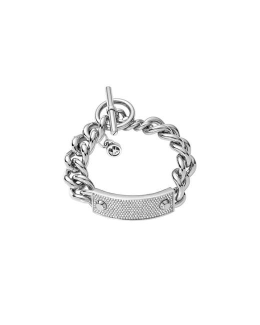 Michael Kors | Metallic Pavé Silver-tone Toggle Bracelet | Lyst