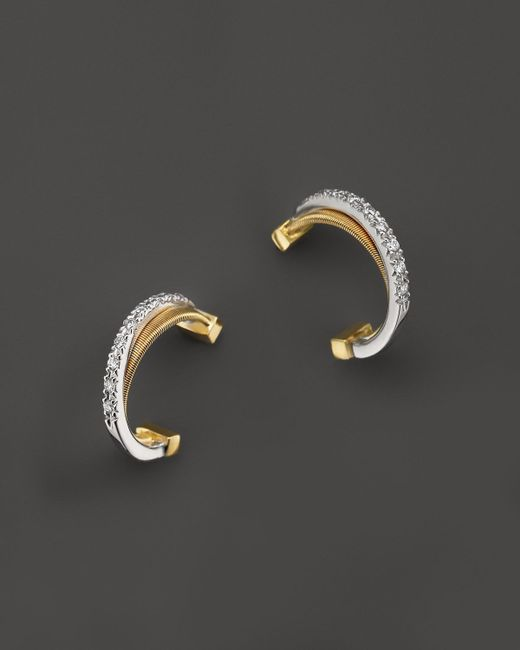 Marco Bicego | Metallic 18k Gold Cross Over Hoop Earrings With Diamonds | Lyst