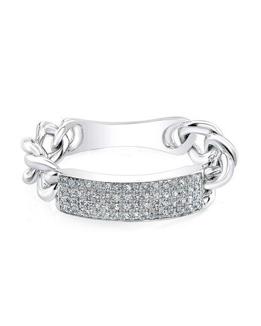 Anne Sisteron | Metallic 14kt White Gold Diamond Id Tag Ring | Lyst