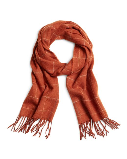 Brooks Brothers | Orange Multi Windowpane Scarf for Men | Lyst